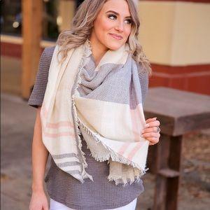 Grey, blush and ivory plaid blanket scarf